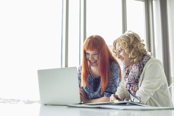 Happy creative businesswomen